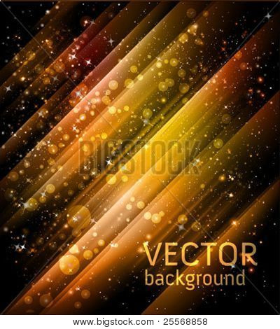 vector golden holiday background with shiny particles and lights