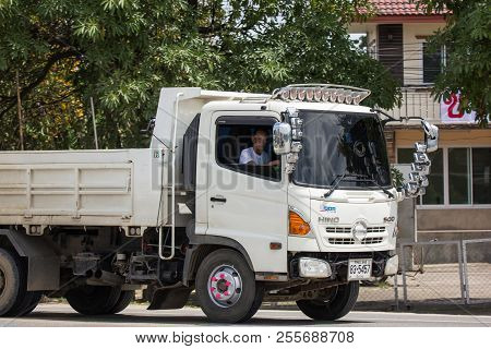 Chiangmai, Thailand - August  2 2018: Private Hino Dump Truck. On Road No.1001 8 Km From Chiangmai B