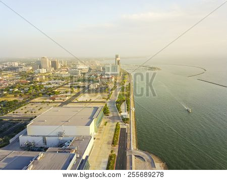 Aerial view Corpus Christi downtown from North of Shoreline Boulevard. Bay front area of Texas city on Gulf of Mexico poster