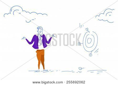 Grieved Businessman Miss Unsuccessful Shot Target Goal Business Failure Concept Confused Man Sketch