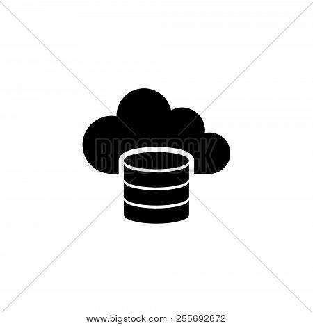 Cloud Computing Database, Computing Server. Flat Vector Icon Illustration. Simple Black Symbol On Wh