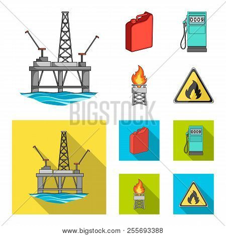 Canister For Gasoline, Gas Station, Tower, Warning Sign. Oil Set Collection Icons In Cartoon, Flat S