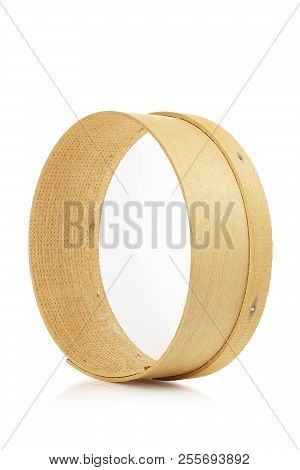 Single Wooden Sieve Isolated On White Background