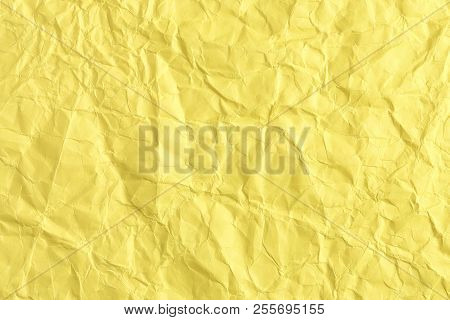 Yellow Crumpled Paper Surface For Background Use