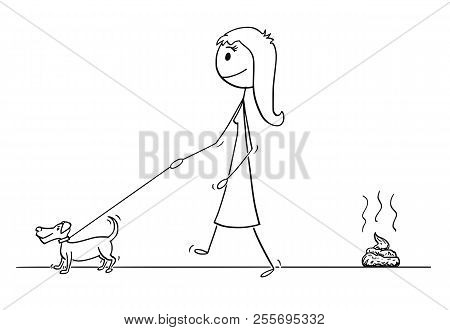 Cartoon Stick Drawing Conceptual Illustration Of Woman Walking With Small Dog On A Leash Leaving Exc