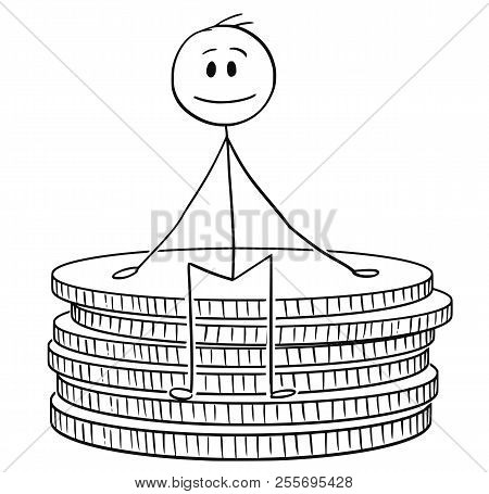 Cartoon Stick Drawing Conceptual Illustration Of Man Or Businessman Sitting On Small Stack Of Coins.