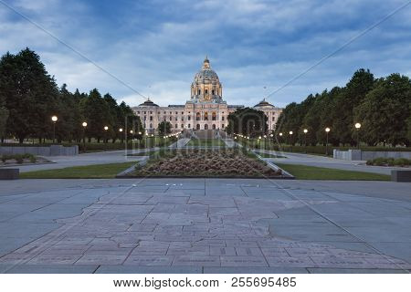 Minnesota State Capitol Building In St. Paul. Map Of Minnesota Counties In The Foreground. St. Paul,