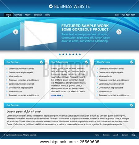 elegant business blue website template