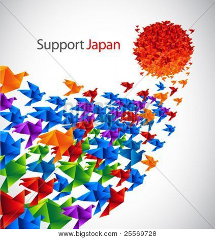 Japan social art - origami birds fly to the sun stylized from Japan flag