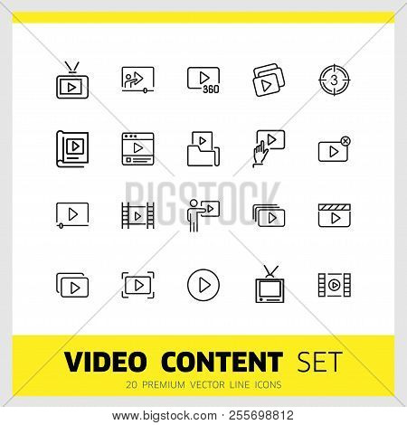 Video Content Icons. Set Of  Line Icons. Player, Screen, Tv. Video Content Concept. Vector Illustrat