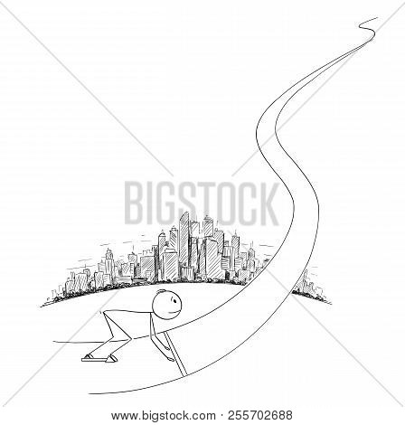 Cartoon Stick Drawing Conceptual Illustration Of Man Or Businessman In The Starting Position Ready T