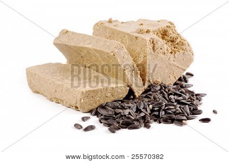 oriental sweets sunflower halva on a white background poster