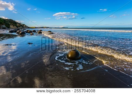 The concept of active, eco and photo tourism. Boulders Moeraki - a group of large spherical boulders on the beach Koekokhe. Ocean evening tide. Travel to New Zealand
