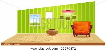 Vector room with green wallpaper and a striped armchair