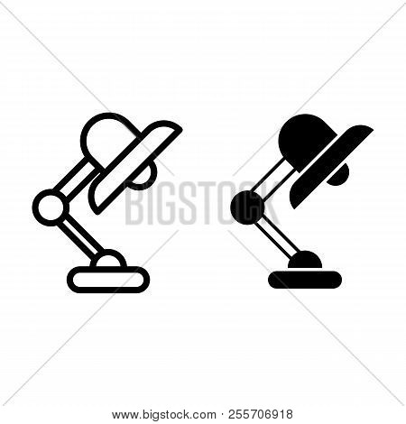 Office Lamp Line And Glyph Icon. Desk Lamp Vector Illustration Isolated On White. Table Lamp Outline