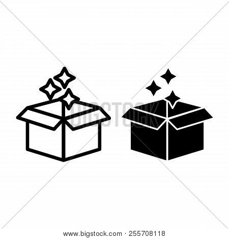 Magic Open Box Line And Glyph Icon. Box With Stars Vector Illustration Isolated On White. Box Of Mag