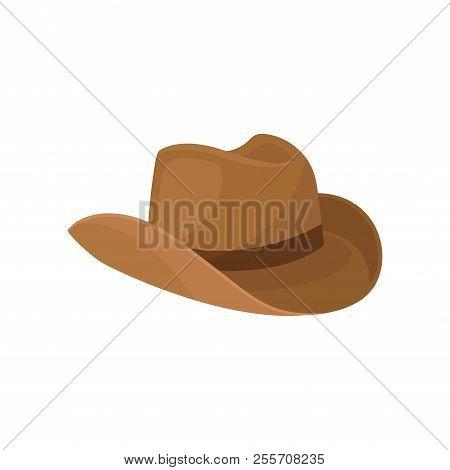 Brown Wide-brimmed Cowboy Hat. Stylish Men Headwear. Element Of Costume. Fashion Theme. Flat Vector