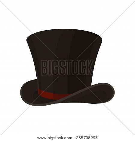 Flat Vector Icon Of Male Cylinder Top Hat. Broad-brimmed Black Hat With Red Ribbon. Stylish Men Acce