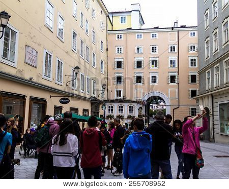 Salzburg, Austria - July 15,2017: Tourists On Hagenau Square Is Probably One Of The Most Famous Squa