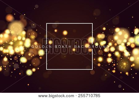 Abstract Defocused Circular Golden Bokeh Sparkle Glitter Lights Background. Magic Christmas Backgrou