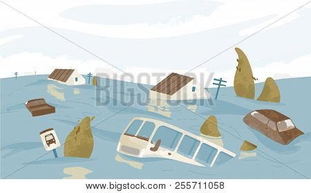 Flooded City Or Town. Houses, Cars, Trees, Road Signs Submerged. Buildings And Automobiles Covered W
