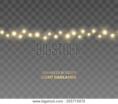 Vector Seamless Horizontal Border Of Realistic Light Garland. Festive Decoration With Yellow Christm