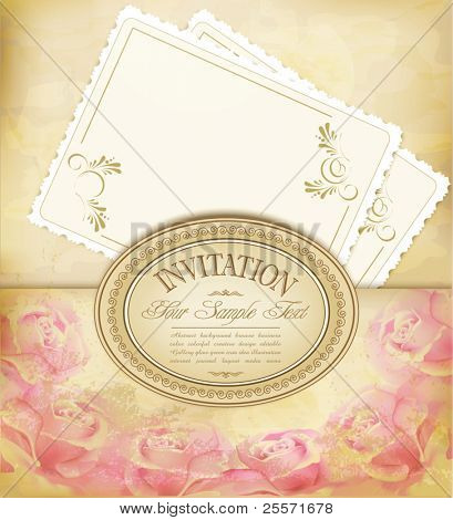 vector vintage old background with  roses on a faded paper and greeting cards