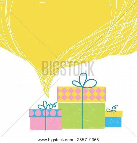 Gift Boxes With Ribbon And Big Yellow Bubble Background For Text