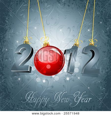 New Year's background with the numbers 2012 and a red New Year's ball, on a gray, luxury, vintage background
