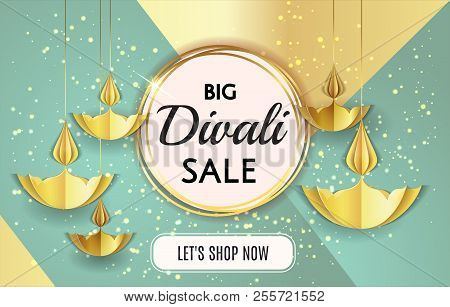 Big Diwali Festival Sale Template Banner Offer Design Isolated In Black Background With Golden Paper