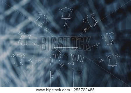 Push Notifications Settings And Marketing Conceptual Illustration: Hand Holding Email Envelope Surro