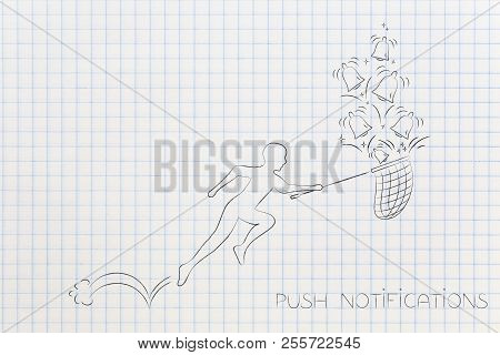 Push Notifications Settings And Marketing Conceptual Illustration: Man With Butterfly Net Catching R