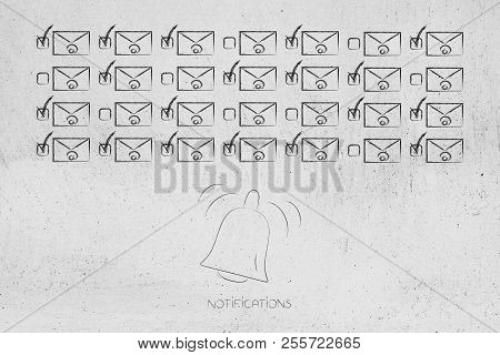 Push Notifications Settings And Marketing Conceptual Illustration: Group Of Selected And Unselected