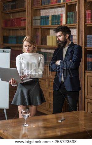 Video Call Concept. Business Man And Woman Use Free Video Call On Virtual Meeting In Internet. Woman