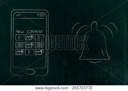 Push Notifications Settings And Marketing Conceptual Illustration: New Content On Smartphone Screen