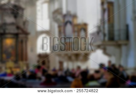 Blurred View Of Tourist Group In Baroque Cathedral Of The Roman Catholic Archdiocese( Salzburg Cathe