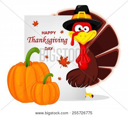 Happy Thanksgiving, Greeting Card, Poster Or Flyer For Holiday. Thanksgiving Turkey. Vector Illustra