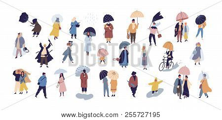 Collection Of People Walking Under Umbrella On Autumn Rainy Day Isolated On Blue Background. Crowd O