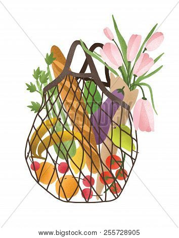 Mesh Or Net Bag Full Of Healthy Food Products Isolated On White Background. Trendy Shopper With Fres
