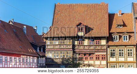 Panorama Of Decorated Houses At The Godehard Square In Hildesheim, Germany