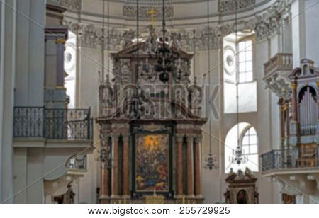 Salzburg, Austria- July 15, 2017: Blurred View Of Baroque Cathedral Of The Roman Catholic Archdioces