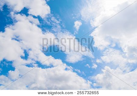 Blue Sky Landscape Scene With White Dramatic Colorful Clouds And Sunlight. Natural Sky Background, S