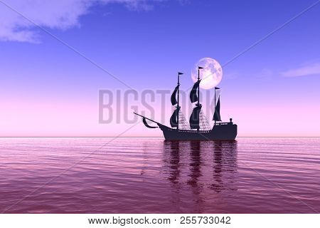 Sailing ship against the background of the moon sky.3D rendering.