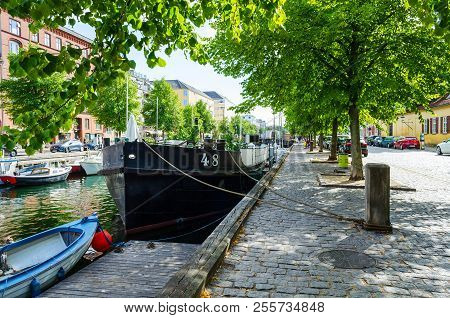 Copenhagen, Denmark - July 9, 2018. Beautiful Ships On The Canal. Water Transport. Architecture City