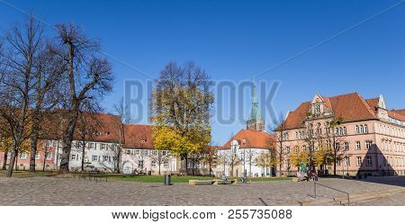 Hildesheim, Germany - October 15, 2017: Panorama Of The Domhof Square In Hildesheim, Germany
