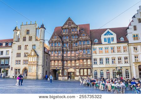 Hildesheim, Germany - October 15, 2017: People Eating And Drinking At The Central Market Square Of H