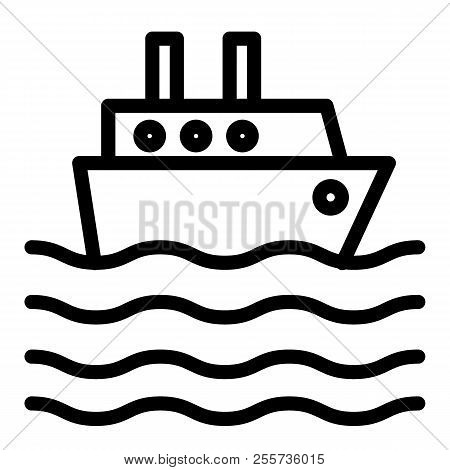 Ship Liner Line Icon. Cruise Ship Vector Illustration Isolated On White. Ocean Ship Outline Style De