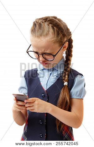 Education, Addiction To Telephone, Technology, Internet, Social Nets, Pre Teens Concept. Charming Sc
