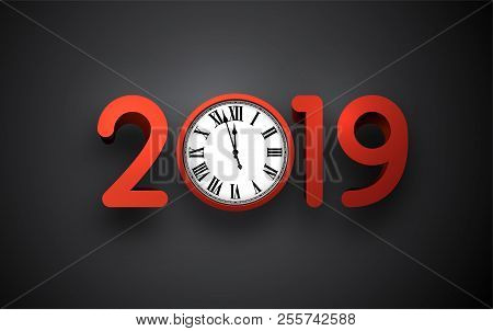 grey 2019 new year background with round clock