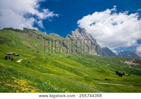 Gruppo Delle Odle, View From Col Raiser. Puez Odle Massif In Dolomites Mountains, Italy, South Tyrol